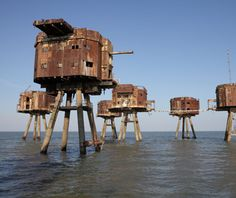 Maunsell Sea Forts  North Sea, offshore from Suffolk, England...one is inhabited by a family and is a self-proclaimed nation state