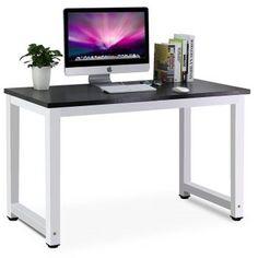 Tribesigns Modern Computer Desk, 63 inch Large Office Desk Computer Table Study Writing Desk Workstation for Home Office, Black Metal Frame Simple Computer Desk, Simple Desk, Pc Desk, Computer Desks, Desk Lamp, Desk Chair, Computer Keyboard, Home Desk, Home Office Desks