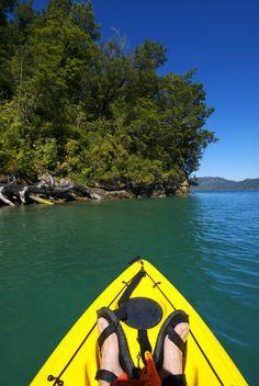 Kayaking at Kenepuru Sound.