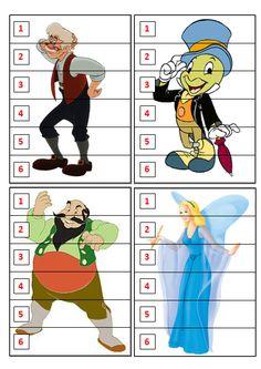 Dobbelspel Pinokkio: Om het eerst je figuurtje bij elkaar dobbelen.