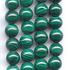 11015-4S  Malachite 4mm Round Beads, 16 inch Strand  The bands of light and dark green on this strand of 4mm Malachite rounds will blow you away!  Although each gemstone features a unique pattern, each is uniform in size and shape.  Restring these Malachite beads with some gold accents or use them as spacers with other gemstones like Red Jasper for the holidays.