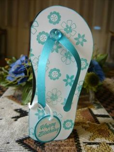 Flip-Flop Card by genescrapper - Cards and Paper Crafts at Splitcoaststampers Beach Cards, Shaped Cards, Matching Gifts, Chevron Furniture, Furniture Design, Card Maker, Name Cards, Kids Cards, Greeting Cards Handmade
