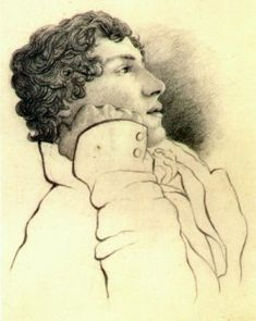 """Sketch of Keats by Charles Brown, August 1819, one month before the composition of """"To Autumn"""""""