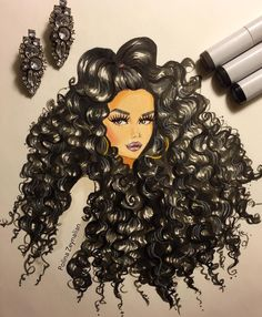 """""""How freaking amazing is this drawing of me by @polinazeynalian?! She used eyeshadows, prismacolor and marker. She even have my @thevanitybox curls on…"""""""