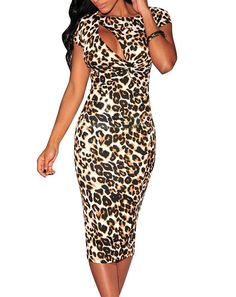 adeb27f58a7 Amazon.com  Cfanny Women s Sexy Cutout Leopard Print Bodycon Club Dress  Clothing  Leopard