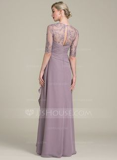 A-Line/Princess Sweetheart Floor-Length Chiffon Lace Mother of the Bride Dress With Beading Sequins Cascading Ruffles (008102690)