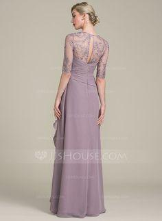 Vestidos princesa/ Formato A Amada Longos Tecido de seda Renda Vestido para a mãe da noiva com Beading lantejoulas Babados em cascata (008102690)