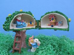 Easter Bunny Figurine Resin Tree House by WillowValleyVintage