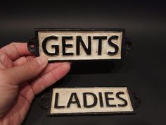 Vintage Antique Style Cast Iron Bathroom Mens Womens Ladies Gents Sign