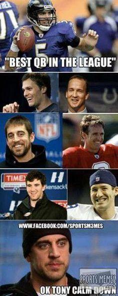 nfl memes Best QB in the NFL Meme Love Tony, but yeah. Nfl Jokes, Funny Football Memes, Funny Nfl, Funny Sports Memes, Sports Humor, Football Humor, Hilarious, Basketball Memes, Football Stuff