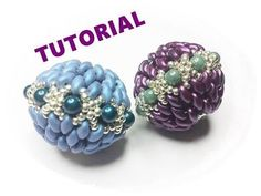Video: Beaded Bead with Super-duos. Easy to follow but in Italian so turn the vol. down. #Seed #Bead #Tutorials