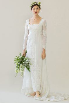 Sovay Wedding Dress By Ailsa Munro Sheer Silk Organza With Applique Ivy Leaf Skirt And Poet Sleeves Photographed Rachel Rose Weddingdresswith