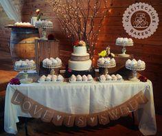 Burlap and Lace Wedding Cake and Cupcake Display
