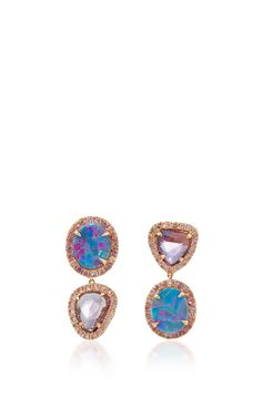 "One-of-a-kind ""Signature Sucre"" Opals and Pink Sapphire Earrings by Shawn Ames for Preorder on Moda Operandi"
