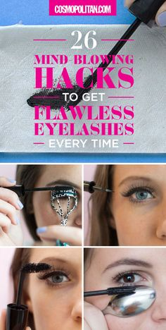 These 4 Weirdly Brilliant Mascara Tricks Will Transform Your Lashes Our beauty editors rounded up THE BEST eyelash hacks and put together this guide for you! Learn how to prevent clumps, how to easily apply false lashes, make your mascara last way longer, Applying False Lashes, How To Apply Mascara, Apply Eyeliner, Eyeliner Brush, Long Lashes, Fake Eyelashes, Thick Lashes, Curl Lashes, Curling Eyelashes