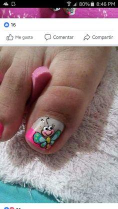 Pedicure Nail Art, Toe Nail Art, French Pedicure, Toe Nail Designs, Nail Polish Designs, Pretty Toe Nails, Cute Nails, Hair And Nails, My Nails