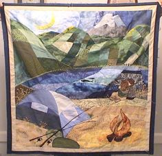 Here's a closeup of the Andean Mountain scene on the Newburn wedding quilt.