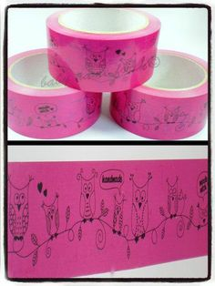 Klebeband Eule, pink von baby name for u auf DaWanda.com