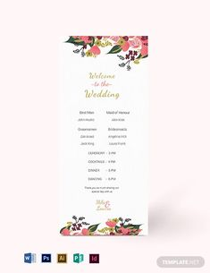 Professionally Designed/ Written Free Pink Floral Wedding Program Card Template Template - Easily Download, Edit & Print in Illustrator (ai), InDesign (idml), MS Word (doc), Photoshop (psd), Publisher (pub)