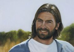 """LOVE this photo of smiling Christ """"Abide With Me"""" from Liz Lemon Swindle Liz Lemon Swindle, Abide With Me, Parables Of Jesus, Pictures Of Christ, Bible Pictures, Lds Church, Church Ideas, Lds Art, Jesus Painting"""