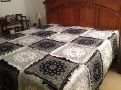 Black & white bandana rag quilt king size bedspread style,