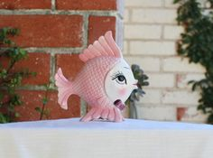 Vintage Ceramic Fish Wall or Shelf Decor Figurine 1950s Mid Century Wall Hanging Shabby Beach Decor by CaliCollectables on Etsy