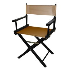 Director's Chair with Black Frame and Tan Canvas