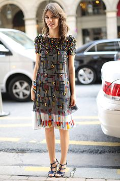 PFW Street Style Day 7: An embellished dress that needed little accessorizing.