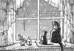 Original Zeichnung Bild klein 14,8x10,5cm schwarz weiß gerahmt Tier Haustier Katze Schnee Fenster Zuhause Wohnung Winter gemütlich