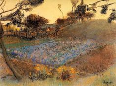 Edgar Degas, Field of Flax, 1891-1892 Pastel on ArtStack #edgar-degas #art