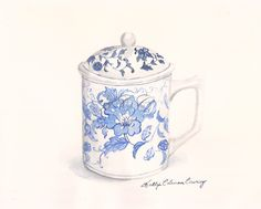 """Fine Art print of my Original Watercolor Painting-""""Blue and White Cup with Lid"""" by KellyColemanCoursey on Etsy https://www.etsy.com/listing/216563269/fine-art-print-of-my-original-watercolor"""