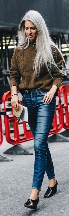 Black Wedges Gray Hair Brown Cable Knit Washed Denim Fall Inspo by Collage Vintage. Natural grey hair inspiration compliments of Sarah Harris.
