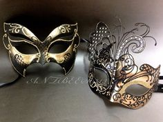 Couple Black&Gold Metal Butterfly and Glitter Venetian Masquerade Mask Party