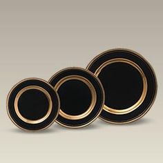 """Porcelain Black Chokin Style Gold Banded Rim Plates.  Snazzy!  Come in 9¼"""" Dinner, 7½"""" Salad and 6½"""" Dessert/Bread & Butter.  From Maryland China"""