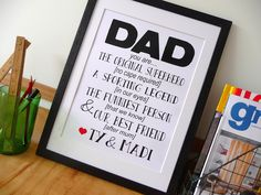 The perfect personalised present for the upcoming Father's Day - A fantastic frame, filled with fonts for your favourite fella.  Available from Young Designers Market at the  'Hark Home' stall.
