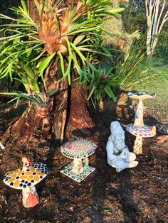 Some of the faerie mushrooms in the Kara-Mia's Mosaics Gallery on Macleay Island