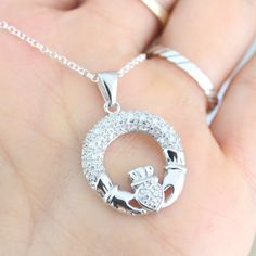 CZ Claddagh Necklace .Sterling Silver Irish by LifeOfSilver, $33.80