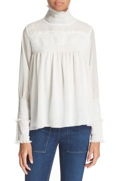 See by Chloé Smocked High Neck Blouse available at #Nordstrom