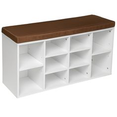 Schoenenkast met zitkussen wit Totale afmetingen (BxHxD): 103,5 x 48 x 30 cm Hallway Shoe Storage, Bench With Shoe Storage, Tiny Living, Wood Shelves, Scandinavian Interior, Ikea Hack, Getting Organized, Shoe Rack, Armoire