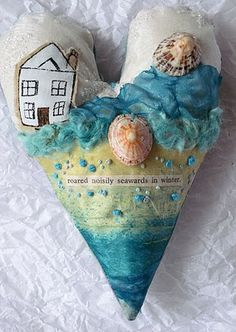 CAROLYN SAXBY TEXTILES - the wind and tide roared noisily seawards in winter - a textile art heart with a winter beach scene Carolyn Saxby, Fabric Hearts, Textiles, Textile Artists, Heart Art, Altered Art, Fiber Art, Making Ideas, Art Dolls