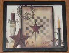 country primitives home decor Primitive Wall Decor, Country Primitive, Country Star Decor, Candle Wall Decor, Star Candle, Star Decorations, Modern Wall Decor, Vintage World Maps, Checker Board