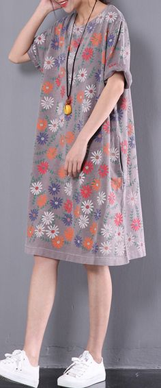 2017 new dotted daisy print dress khaki oversize short sleeve sundress casual dresses