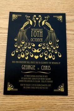 Peacock Art Nouveau themed invites