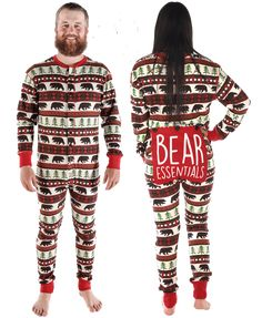 Our Bear Essentials Adult Onesie Flapjack is a great Family Matching set! This fun riff on the Fair Isle design is a perfect gift for the outdoor types and bear love Matching Christmas Pajamas, Matching Family Pajamas, Holiday Pajamas, Adult Onesie Pajamas, Cozy Pajamas, Lazy Day Outfits, Long Johns, Ribbed Fabric, Lingerie Sleepwear