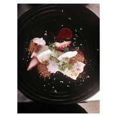 White chocolate cheesecake, compressed and fresh strawberries. Strawberry meringue and cheesecake crumb
