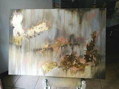 Gold leaf acrylic painting 70x100cm