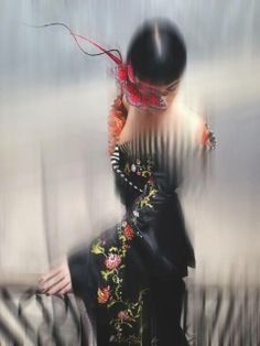 Photograph by Nick Knight from the catalogue for the Isabella Blow exhibition at Somerset house which opens on November the eighteenth red butterfly eye mask by Philip Treacy kimono by Alexander McQueen for Givenchy. #passion4hats