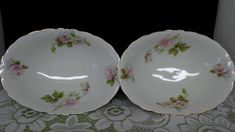 2 Antique Hermann Ohme Silesia German pink rose porcelain china serving bowls by rummagechicboutique on Etsy