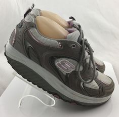 Skechers Shape Ups Womens 7.5 M Gray Leather Walking Toning Athletic Shoes 11806