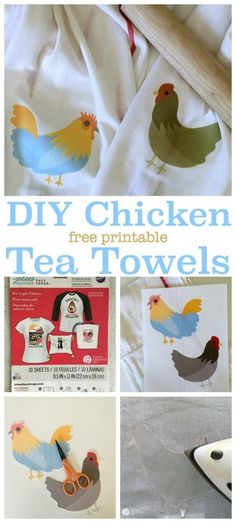 Iron On Chicken Tea Towels | Create easy home decor with iron on transfer paper. So many diy projects that make it easy to create homemade gifts, or transform any space with graphics you love. See the tutorial on TodaysCreativeLife.com